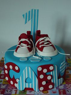 Red converse baby shoes — First Birthday Cakes