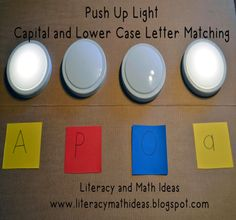 Push up light upper and lower alphabet letter matching