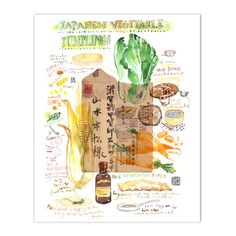 Japanese dumpling recipe print - Watercolor illustration on vintage japanese envelope