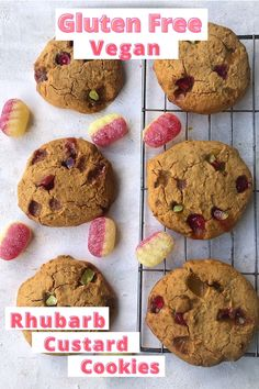 Easy and fun gluten free rhubarb custard cookies. Using the classic family favourite rhubarb custard hard boiled sweets. These are a kid friendly recipe that takes less than 25 minutes to make and are vegan too.