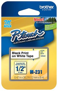 Brother P-touch Black on Clear Tape - ft. black on clear tape is designed for use with Brother P-Touch machines including (small Clamshell package), and Create labels for home, home office, school or hobby applications. For indoor and light use. Office And School Supplies, School Projects, Gold Tape, Brother Printers, Thing 1, Erin Condren, Black Print, Adhesive, Touch
