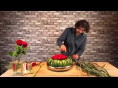 How to make table arrangement with red roses - By Pim van den Akker - YouTube