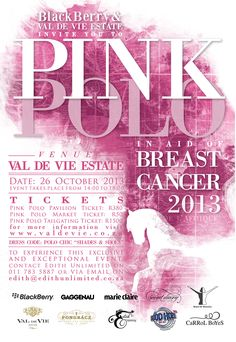 Support Breast Cancer @ this years Pink Polo at Val de Vie Estate! Breast Cancer Support, Breast Cancer Awareness, Medical Design, Game Start, Everyday Items, Flyer Design, Pink, Invitations, Secret Diary