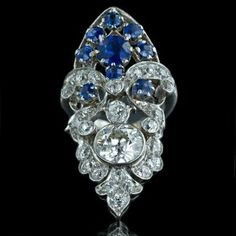 Edwardian Platinum Diamond and Sapphire Ring...