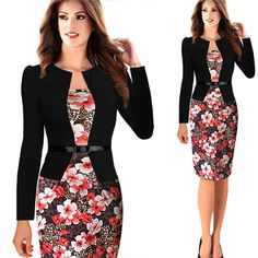 Womens Elegant Faux Twinset Belted Cotton Blend Floral Print Patchwork Wear to Work Business Pencil Sheath Bodycon Dress-in Dresses from Women's Clothing & Accessories on Aliexpress.com | Alibaba Group