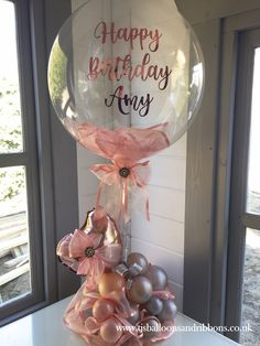 Organic style balloon centerpiece in a rose gold & shades of silver theme, with personalised bubble Rose Gold Balloons, Bubble Balloons, Balloon Flowers, Balloon Bouquet, 21 Balloons, Clear Balloons, Confetti Balloons, Baby Shower Balloons, Balloon Arrangements