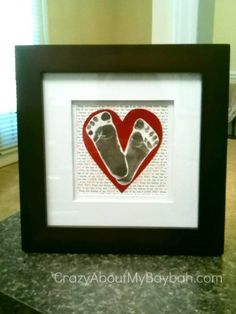 Baby Footprint Heart Art--would be fun to do as a special keepsake for moms of special care/NICU babies