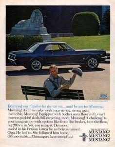 1965 Ford Mustang car print ad dark blue model Car To by Vividiom, $9.00