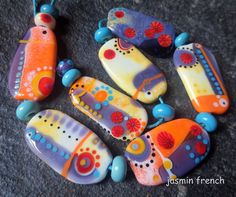 jasmin french     plums on apricots      lampwork by jasminfrench, $95.00