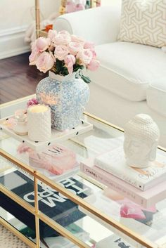 pink decor Around The House: Spring Decor Updates westelm brass coffee table and homegoods accents Brass Coffee Table, Coffee Table Styling, Decorating Coffee Tables, Coffee Table Decorations, Pink Decorations, Coffee Table Books, Spring Home Decor, Easy Home Decor, Cheap Home Decor