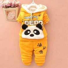 NEW Baby Set Winter Spring Baby Girl Cartoon Coat Thick Warm Panda Coat+Pants Warm New Outerwear Down Jacket Clothing Sets Boys Suit Sets, Boys Suits, Kids Christmas Outfits, Winter Outfits, Christmas Clothes, Toddler Girl Outfits, Kids Outfits, Boys Winter Clothes, Children Clothes