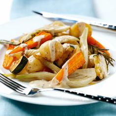 Roasted vegetables with mustard sauce. This is a colourful vegetable dish to serve either on its own or with chicken, tofu, or fish.