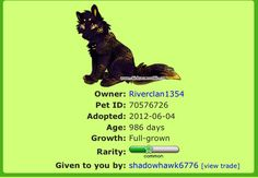Trade me and friend me on Chicken Smoothie!!!!!! My user is: riverclan1354 (the pet above is not for trade)