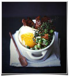 A filling dish of Green Peas, Eggs and Crisp Ham.