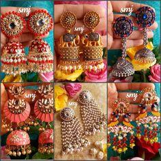 Kundan Jewellery Set, Indian Jewelry Earrings, Jhumki Earrings, Fancy Jewellery, Fancy Earrings, Ear Jewelry, Antique Earrings, Bridal Jewelry, Indian Accessories