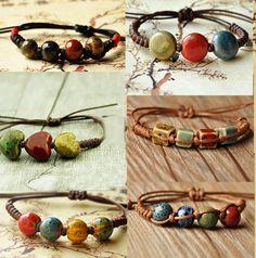 Fashion ethnic style high quality original ceramic bronze adjustable handmade porcelain beads rope bracelets for women he005