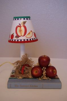 Apple Theme Candlelamp  with book by TheAtticDoorStudios