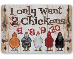 """I Only Want Chickens - Metal Sign - 8""""x12""""/12""""x18"""" - Use indoor/outdoor - Funny Chicken Farm Decor The Perfect Gift - A truly unique gift guaranteed to bring a smile Durable - 8"""" x 12"""" or 12"""" x 18"""" Aluminum metal sign printed with epoxy ink so you can hang it inside or outside Easy to Hang - Comes with two screw holes and it's light enough to be mounted with double-sided foam tape or Command Strips Guarantee - I´m so sure you´re going to love the sign. Made in the USA (Tomball, Texas) in our fam Cute Chicken Coops, Chicken Coop Decor, Chicken Coop Signs, Chicken Humor, Chicken Art, Funny Chicken, Chicken Toys, Chicken Houses, Wood Pallet Art"""