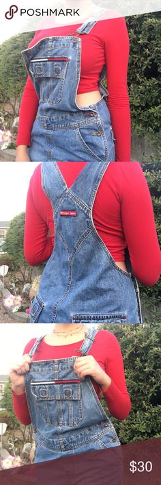 Tommy Hilfiger / Tommy Jeans short overalls Front button holders fell off but can be easily replaced or fastened with safety pins, other than that it is in good condition! Super cute, vintage and rare <3 Tommy Hilfiger Shorts Jean Shorts