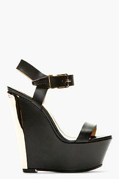 Dsquared2 Black Leather Metal Plaque Platform Wedges for women | SSENSE