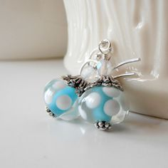 Aqua Earrings Beaded Dangles Lampwork Jewelry Glass Bead Drops Antiqued Silver Sterling Silver Wires Aqua and White Polka Dots. $18.00, via Etsy.
