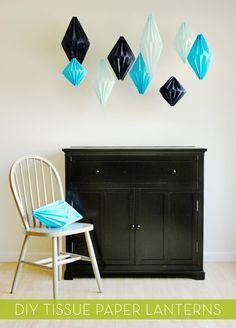 DIY Geometric Paper Lanterns   credit: Jenny Batt [http://ohhappyday.com/2012/08/diy-geometric-lanterns/]