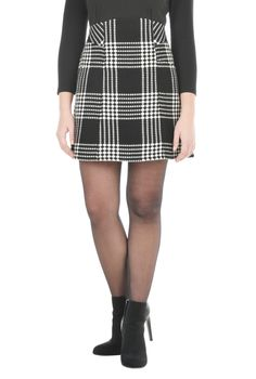 Textured woven check in versatile, contrasting hues gets our classic A-line skirt contoured at the wide waist.