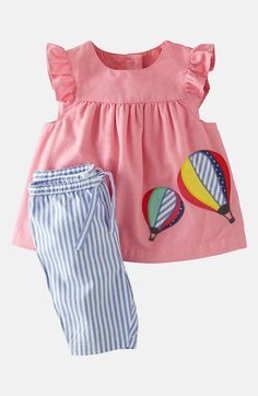 Mini Boden Appliqué Dress & Leggings (Infant)