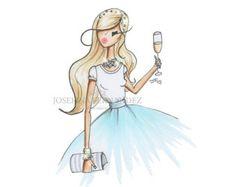 Happy Birthday card Fashion Illustration by JosefinaFernandez