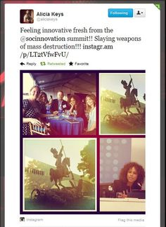 Alicia Keys tweets her excitement and pictures post-Social Innovation Summit to her over 7.8 million followers