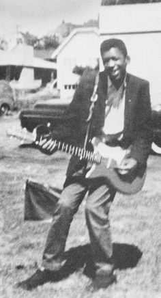 Jimi Hendrix with his first electric guitar in Seattle, 1957