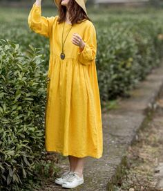 yellow Linen dress for women, Loose Fitting Dress, Maxi Dress, LongSleeved Linen Dress, Prom dress Long Summer Dresses, Green Maxi, Beautiful Dresses, Yellow Dress, Dress Prom, Prom Dresses, Yellow Fabric, Color Yellow, Indian
