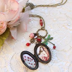 Illustrated Necklace  Locket Poppies in the Sky by Minasmoke, $31.00
