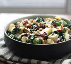 Sweet and Nutty Kale Salad. A nutrition-packed meal. This seasonal dish is a mixture of crunchy kale, tart cranberries, sweet apples, and celery.  The salad is tossed in a rich homemade honey walnut dressing.   - Foodista.com