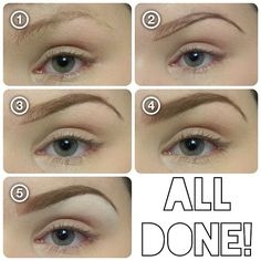 """1. Brush 2. Define the bottom and """"tail"""" with a cream liner. (UsedELF's cream liner in """"Coffee"""".)  2. Lightly fill in with shadow that. (2 shades darker if you have light hair, 2 shades lighter if you have dark hair- I used """"Buck"""" byUrbanDecay.) Use less near the front.  4. Use a CLEAN angled brush and shift back and forth at front of brow to fade 5. """"Carve out"""" brow with concealer. (Hard CandyGlamoflauge on top Maybelline white Coverstick under brow.)"""