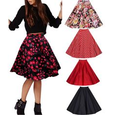 Women Girl Vintage Printed Floral Fashion Skirts Stretch Pleated Swing Ball Gown Academical Style-in Skirts from Women's Clothing & Accessories on Aliexpress.com | Alibaba Group