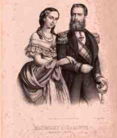 Maximiliano y Carlota,ella muy a la Mexicana con su rebozo