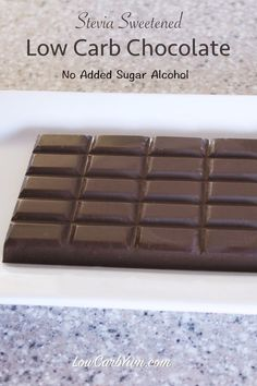 A sugar free chocolate recipe made with stevia. It contains no added sugar alcohol. It uses natural sweeteners along with cocoa butter and unsweetened cocoa. | LowCarbYum.com