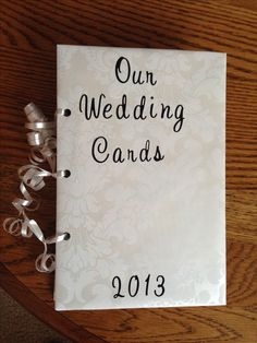 What to do with wedding cards? I made a book! Old Cheerios box covered with wrapping paper and ribbon | Little Baby Jahn