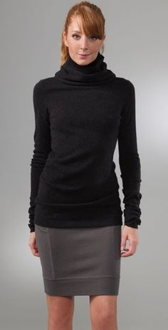 turtleneck <3.  Like the slouchy fabric at neckline.  Cover up is flattering if you are slim