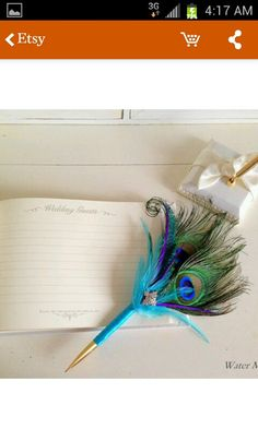 Peacock wedding guest pen from etsy
