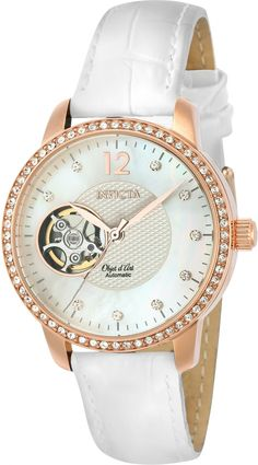 Invicta Ladies Object D Art Automatic White Dial Rose Tone MOP Watch