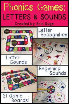 These 21 phonics game boards are helpful for individual letter sounds, letter recognition, beginning sounds, and even syllables! The game boards progress in the order of the individual letters in the Jolly Phonics program.