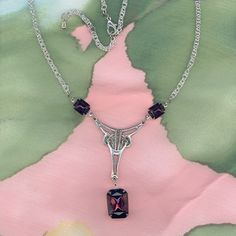 Moderne Pendant Necklace Amethyst Purple Glass by BeadSmyths, $35.00