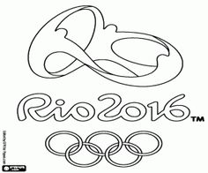 Free The emblem of the Olympic Games in Rio de Janeiro in 2016, from 5 to 21 August coloring and printable page.