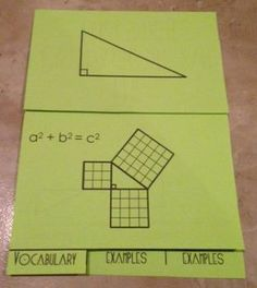 This foldbale provides students with notes, a discovery/ proof, and 5 examples. They will have to find missing side lengths (a,b, and c) as well as simplify Math 8, Math Teacher, Math Class, Geometry Lessons, Math Lessons, Math Blocks, Pythagorean Theorem, Math Strategies, 8th Grade Math
