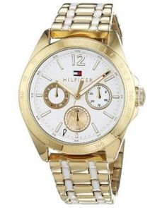 Reloj de mujer Tommy Hilfiger con correa chapada en oro. Rebajado un 11%  #relojesmujer Tommy Hilfiger, Best Watches, Brand Name Watches, Sheet Metal, Gold, Woman
