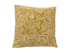 Pickle Polly Mustard floral leaf design In yellow & cream