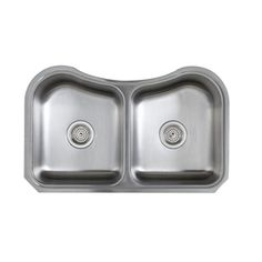 KOHLER Staccato 19.5625-in x 31.625-in Double-Basin Stainless Steel Undermount Commercial/Residential Kitchen Sink