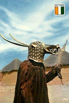 Africa | Baule masquerader. Khorogo, Ivory Coast. ca. 1967 || Vintage postcard; publisher Soufrane / IRIS